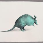Armadillo esmeralda Aguada de pigmento sobre papel indio hecho a mano 75x55 cms