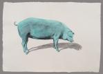 Cerdo clorofila Aguada de pigmento sobre papel indio hecho a mano 75x55 cms