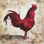 Gallo rojo Aguada de pigmento sobre lienzo 100 x 100 cms