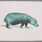 Hipopótamo malaquita Aguada de pigmento sobre papel indio hecho a mano 75x55 cms