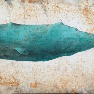 Cachalote turquesa Aguada de pigmento sobre lienzo 75 x 150 cms