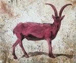 Cabra tierra Aguada de pigmento sobre lienzo 96 x 116 cms