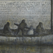 The boat. Mixed media on canvas. 60x120 cms