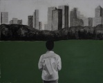 Central Park. Mixed media on canvas. 81 x 100 cm